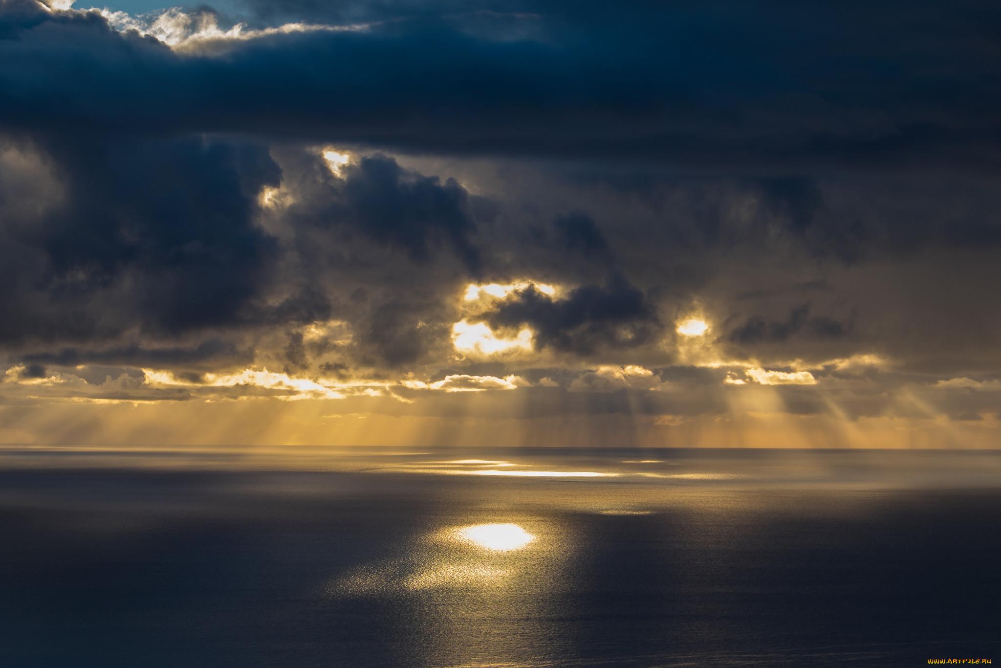 природа, моря, океаны, солнечные, лучи, тучи, море